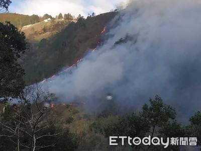 梨山火警延燒1公頃!濃煙密布滿山林…黑鷹直升機空中灑水畫面曝